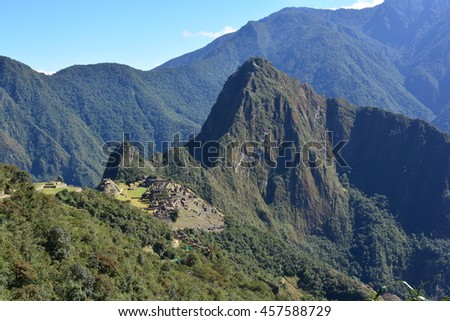 Far view of the inca town of Machu Picchu, Peru