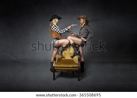 far west duell concept, dark background - stock photo