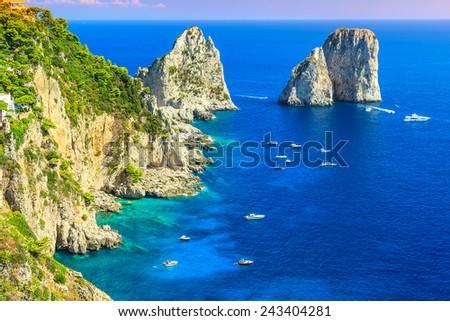 Faraglioni cliffs panorama,and the majestic Tyrrhenian sea,Capri island,Campania,Italy,Europe - stock photo
