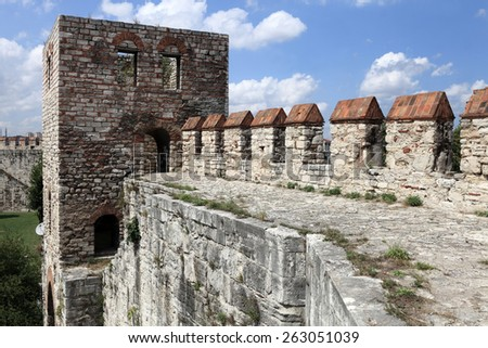 Faragment of wall of Yedikule Fortress in Istanbul - stock photo