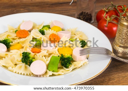Farfalle with Carrots, Beans, Broccoli and Sausage Studio Photo