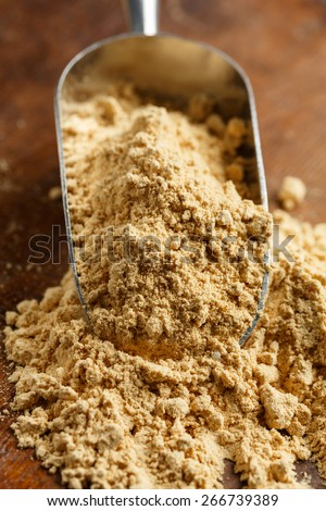 Farina bona, (good flour) a traditional product from Ticino, Switzerland, is a type of corn flour made fine milling the toasted grain - stock photo