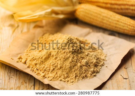 Farina bona, ( good flour ) a traditional product from Ticino, Switzerland, is a type of corn flour made fine milling the toasted grain - stock photo