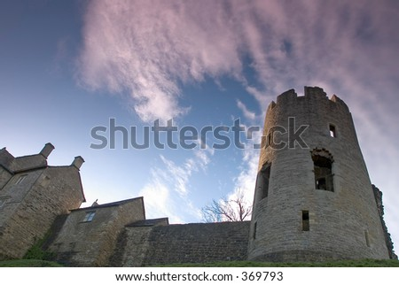 Farleigh castle from below in Wiltshire England - stock photo