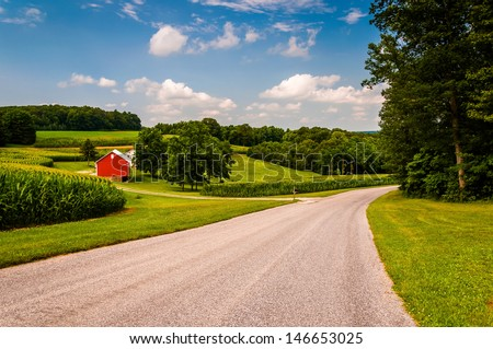 Farm along country road in Southern York County, PA. - stock photo