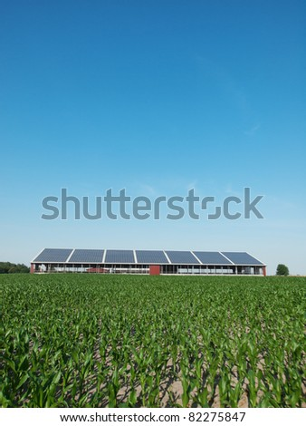 Farm and solar panel - stock photo