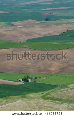 Farm and wheat fields in steptoe butte state park, washington, usa