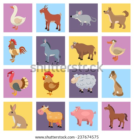 Farm animals livestock and pets icons set isolated  illustration