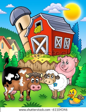 Farm animals near barn - color illustration. - stock photo