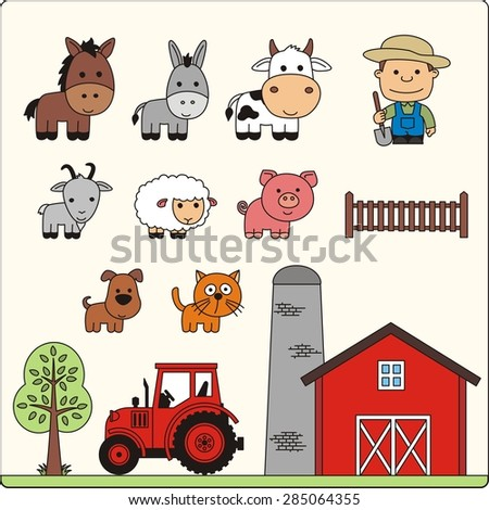 Farm animals set. Isolated farm animals, farmer and farm house on white background. Collection cartoon farm animals and farm house.  - stock photo