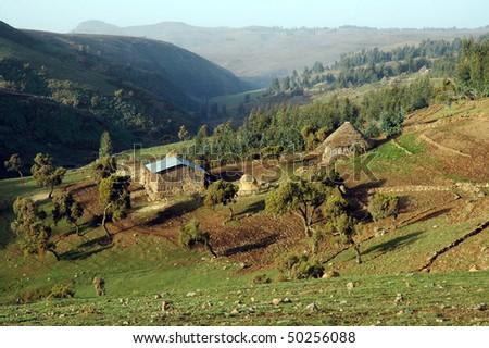 Farm around Simeon mountains in Ethiopia - stock photo