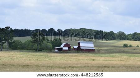 Farm barn house rural Georgia, USA. background - stock photo
