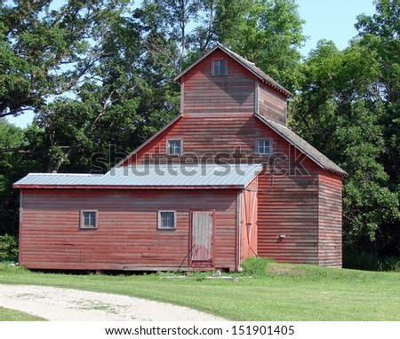 farm building red shed granary - stock photo