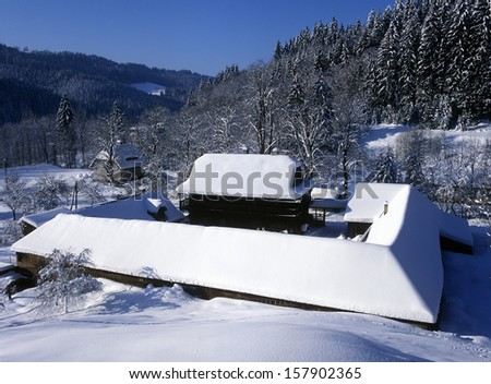farm, Bzove, Beskydy, Czech Republic - stock photo