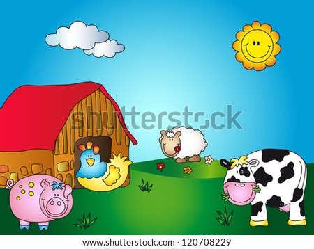 farm cartoon - stock photo