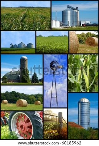 Farm collage of images silo,barn,straw,farm and a tractor - stock photo