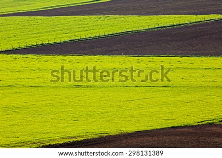 Farm field spring cultivation patterns.