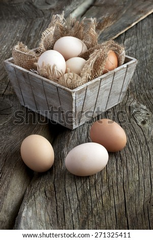 Farm fresh chicken  eggs in box on rustic wooden background