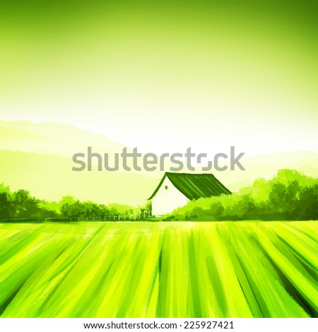 Farm fresh.  Organic, eco living concept in painted illustration. - stock photo