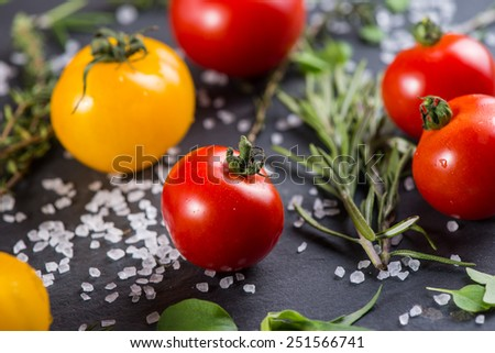 Farm fresh tomatoes with fresh basil herb and rock salt - stock photo