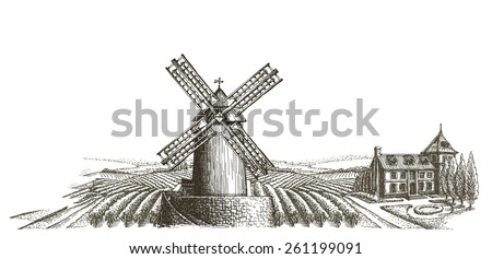 farm. harvest on a white background. sketch - stock photo