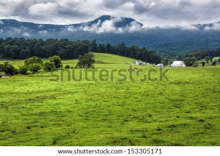 Farm house, barn and grazing fields in the mountains of Tennessee