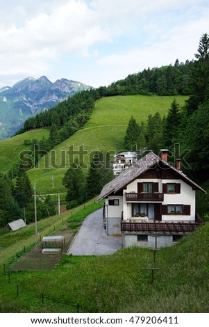Farm house in rural mountain area of Slovenia