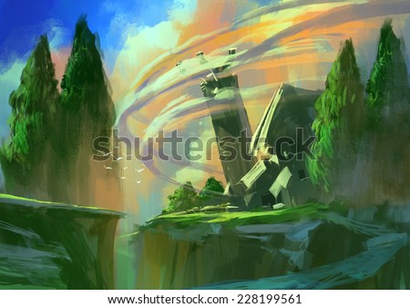 farm house on top of the cliff,digital painting - stock photo