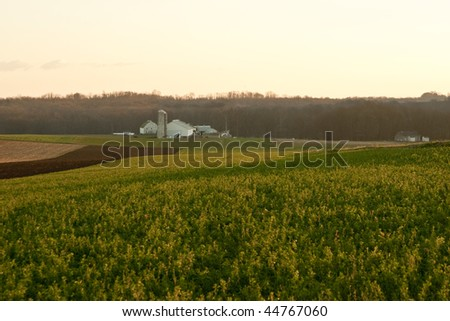 farm in amish country of pennsylvania - stock photo