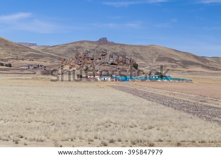 Farm in Andes mountains, Peru - stock photo