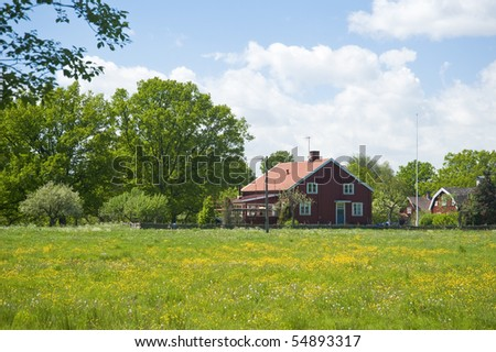 Farm in South Sweden in Spring - stock photo