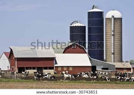 Farm in Wisconsin - spring time - stock photo