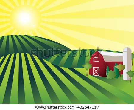 Farm Land illustration of rolling green fields with red barn