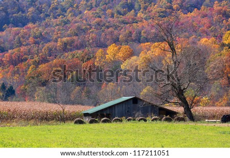 Farm lands in Appalachian mountains of West Virginia - stock photo