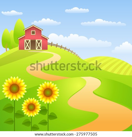 Farm landscape with red barn and sunflowers