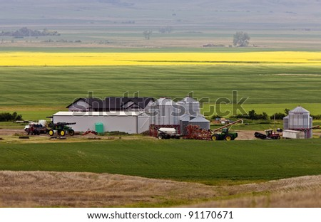 Farm near Mortlach Saskatchewan - stock photo
