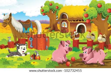 farm panorama with pigs - stock photo