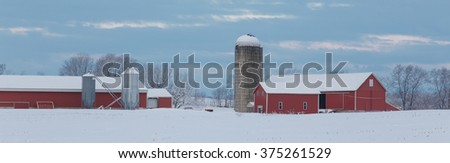 Farm panoramic after a winter storm