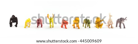 farm plastic animals toys for kids. isolated on white background - stock photo