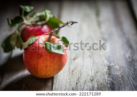 Farm raised apples on wooden background - stock photo