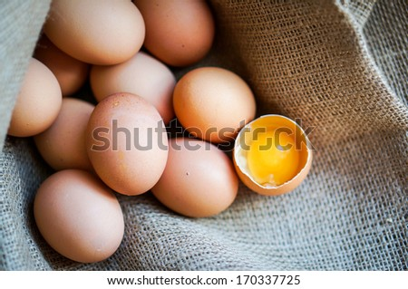 Farm raised brown chicken eggs  - stock photo