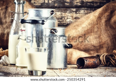 Farm setting with fresh milk in various bottles and cans - stock photo
