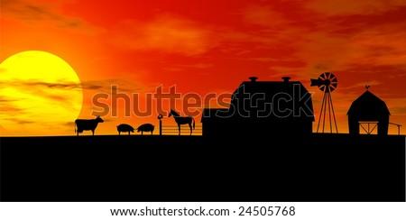 Barn Silhouette Drawing Farm Silhouette Illustration