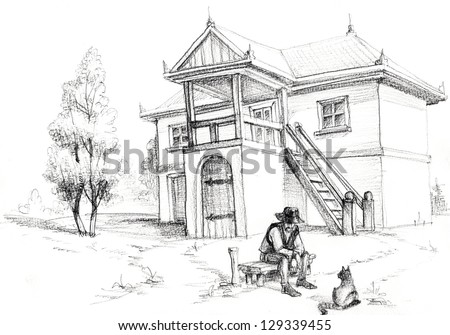 Farm sketch, man sitting in front of his house