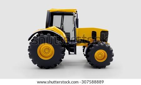 Farm tractor in light studio - stock photo