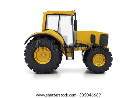 Farm tractor on a white background - stock photo