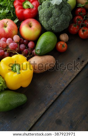 farm vegetables and fruits on boards, food - stock photo