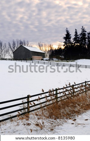 Farm with a barn and horses in winter at sunset - stock photo