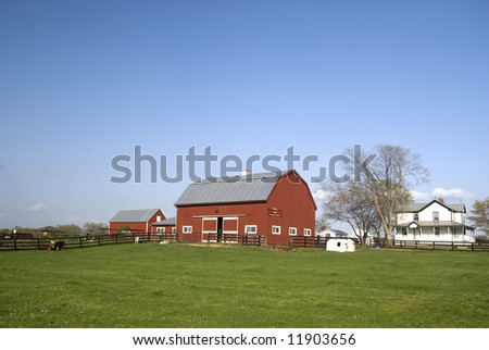 Farm with red barn and white house - stock photo