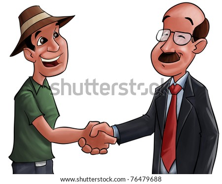 farmer and a businessman shaking hands after a good deal - stock photo